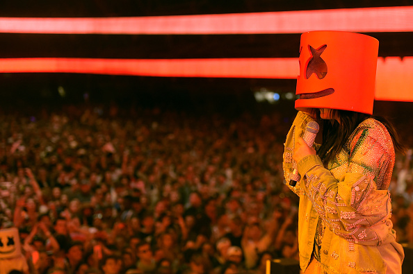 INDIO, CA - APRIL 23:  Noah Cyrus performs with Marshmello at the Sahara Tent during day 3 of the Coachella Valley Music And Arts Festival (Weekend 2) at the Empire Polo Club on April 23, 2017 in Indio, California.  (Photo by Matt Winkelmeyer/Getty Images for Coachella)